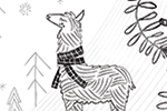 Angela Navarra Illustration - angela, nevarra, angela nevarra, licensing, digital, photoshop, illustrator, card, greetings, post card, landscape, black and white, b and w, animals, unicorn, llama, outdoors, countryside, houses, trees, woodland, forest,