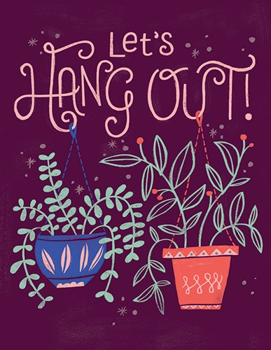 Angela Navarra Illustration - angela, nevarra, licensing, digital, photoshop, illustrator, card, greetings, post card, gift wrap, wrapping paper, plants, hanging, type, text, pattern