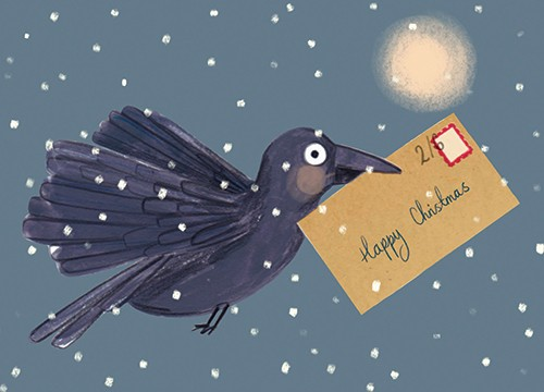 Claire Shorrock Illustration - claire, shorrock, licensing, illustration, handdrawn, card, card design, digital, text, crow, animal bird, christmas, seasonal, snow, weather
