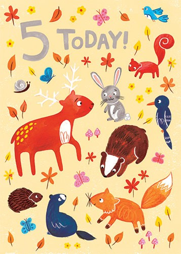 Emma Randall  Illustration - emma, randall, greetings cards, paint, painting, digital, photoshop, illustrator, birthday, card, 5, today, card, cute, sweet, young, animals, wildlife, woodland, nature, leaves, squirrel, fox, badger, rabbit, deer, bird, hedgehog, flowers, butterflies