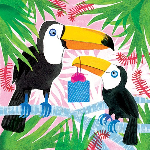 Jo Rooks Illustration - jo, rooks, watercolour, paint, photoshop, digital, painterly, graphic, colourful, tropical, trend, greetings card, birthday, happy, flamingo, flowers, jungle, birds, toucan, friends, family, presents, gift