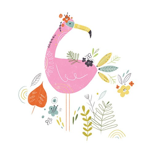 Louise  Wright Illustration - louise, wright, louise wright, digital, painterly, post card, tropical, greetings card, licensing, art licensing, gift wrap, bird, decorative, flamingo, flowers, detail, leaves, plants