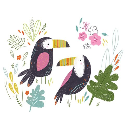Louise  Wright Illustration - louise, wright, louise wright, digital, painterly, post card, greetings card, tropical, licensing, art licensing, gift wrap, bird, decorative, toucan, flowers, detail, leaves, plants