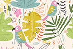 Louise  Wright Illustration - ouise, wright, louise wright, digital, photoshop, illustrator, repeat pattern, surface pattern design, textiles, gift wrap, wrapping paper, summer, tropical, parrots, birds, leaves, leaf, flowers,