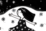 Valeria Valenza Illustration - valeria valenza, licensing, greetings cards, christmas, text, festive, seasonal, cute, sweet, outdoors, snow, snowflakes, girl, child, dancing, ice, lake, woodland, winter wonderland, trees, night sky