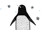 Valeria Valenza Illustration - valeria valenza, licensing, greetings cards, penguins, penguin, animal, christmas, text, festive, seasonal, cute, sweet, outdoors, snow, snowflakes,