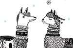 Valeria Valenza Illustration - valeria valenza, licensing, greetings cards, llama, llamas, animal, christmas, text, festive, seasonal, cute, sweet, outdoors, snow, snowflakes, trees, forest, woodland